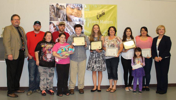 Stephany Tejada, Kiera Hiatt and Brandon Erwin received Character in Action awards during an April 16 Shelby County Drug Free Coalition meeting. (Contributed)