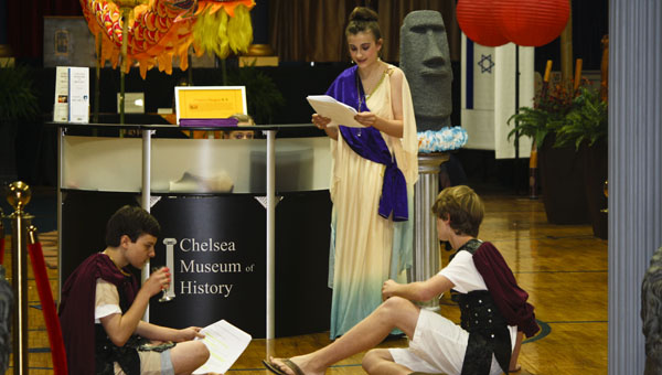 Students at Chelsea Middle School portrayed characters in different historical time periods during a Night at the Museum program on April 20. (Contributed)