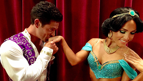 """Alabaster's Noah Galloway portrayed Aladdin while his dancing partner, Sharna Burgess, portrayed Jasmine during the April 13 """"Dancing with the Stars"""" show. (Contributed)"""