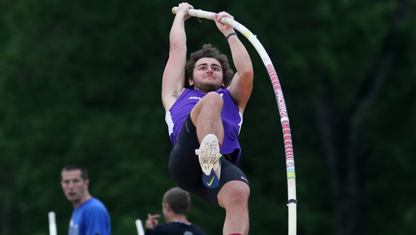 Montevallo freshman Alex Knight won the pole vault in the Peach Belt Conference Track and Field Championships on April 16 in the first day of competition. Knight's individual win is the first ever individual win for the men's track team in the Peach Belt Conference Championships. Competition lasts through Saturday. (Contributed)