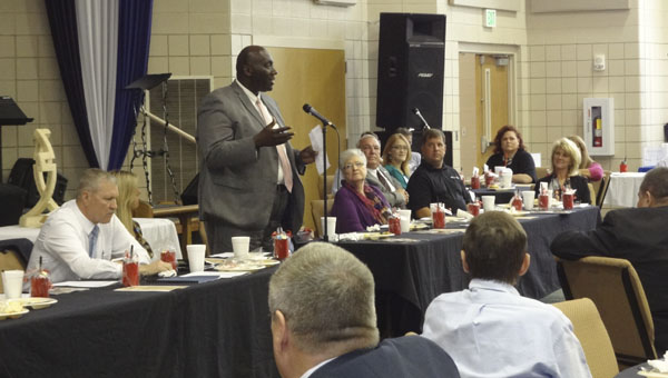 Harpersville Mayor Theoangelo Perkins speaks at the South Shelby Chamber of Commerce's Mayors' Luncheon on April 9 at Columbiana United Methodist Church. (Reporter Photo/Emily Sparacino)