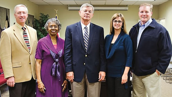 Angie Hester, fourth from left, was reappointed to the Pelham Board of Education on April 20 for a new, five-year term. Other board members are, from left, Paul Howell, Barbara Regan, President Rick Rhoades, Brian Long and Superintendent Dr. Scott Coefield (not pictured). (Contributed)