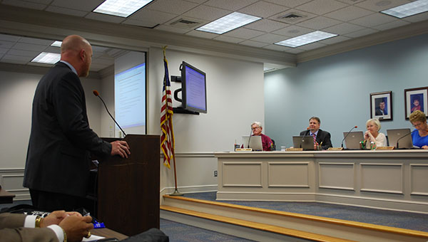 Helena High School Principal Jay Peoples addresses members of the Shelby County Board of Education after he was appointed to the High School Coordinator postion on Thursday, April 23. (Reporter Photo/Graham Brooks)