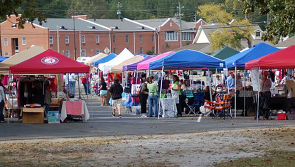 Rows of vendors align the parking lot for Helena Cumberland Presbyterian Spring Bazaar. This year's bazaar will be held April 11. (Contributed)
