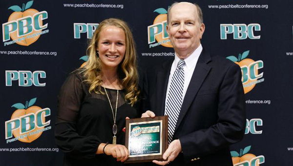 Kelsey Vining was named the Peach Belt Conference Freshman of the Year and was awared a place on the First Team All-PBC on March 23. (Contributed)