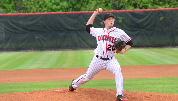 Colin Lillie threw a complete game in the first game of Thompsons' state semifinal series with Sparkman on May 8. The Warriors beat Sparkman in three games to advance to the 7A state championship. (Reporter Photo / Baker Ellis)