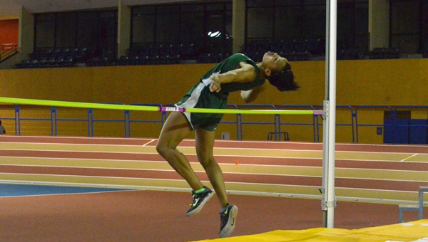 Erin Hines, shown here earlier this year in the indoor track and field season, competed in the state wide heptathlon at Hoover High School from May 11-12 and placed third out of 37. (Contributed)
