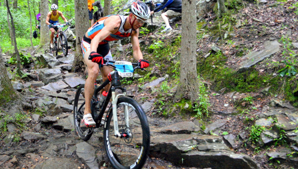 Josiah Middaugh, shown here at the 2014 Xterra Southeast Championship, finished second in the Men's Pro Division on May 16, 2015, finishing three seconds behind the winner Braden Currie. (Contributed)
