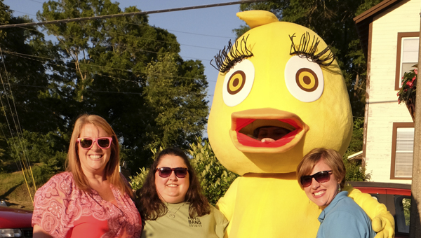 Helen A. Duck at First Friday in May with, left to right, Stephanie LeSueur, Tracy Ensminger and Tammy Hogue. Here, HHS student Allysa Dixon is costumed as Helen; at BCF Chase LeSueur did the honors. (Contributed)