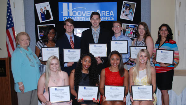 The Hoover Chamber of Commerce awarded $21,000 in scholarships to 13 students at a May 21 luncheon. (Contributed)