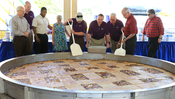 City and school officials gather around the giant apple pie at Celebrate Hoover Day on May 2. (For the Reporter / Dawn Harrison)