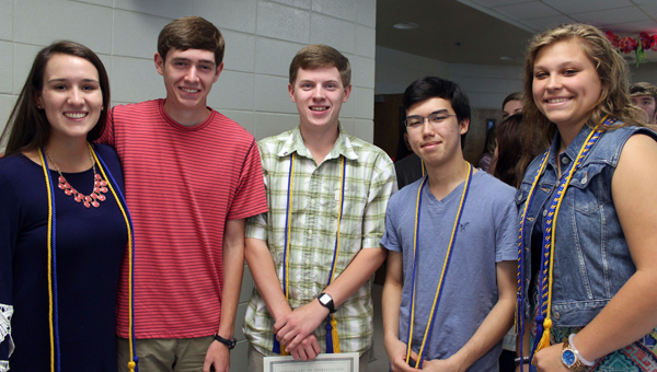 Pictured are Shelby Cost, Kevin Holt, Lowrey Young, Luc Samblanet and Rebecca Foushee. (Contributed)
