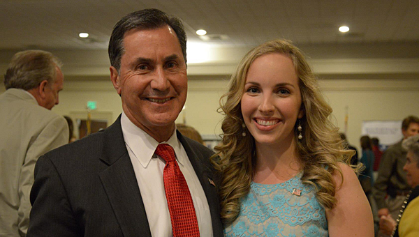 Rachel Rivers, founder of Support Our Soldiers Alabama, with Congressman Gary Palmer during the May 28 event. (Contributed)