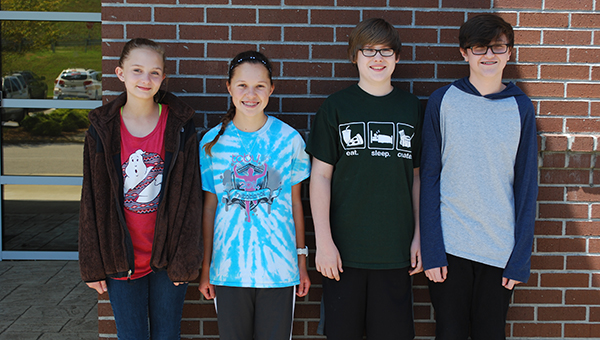 From left to right: Hannah Cost, Abigail Ford, Christian Van Zant and Connor Wolf of HMS placed among the top percentile in the Duke University Talent Identification Program. (Reporter Photo/Graham Brooks)