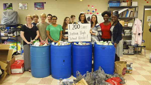 Chelsea High School Beta Club members and Miss Metropolitan Cassidy Jacks partnered to collect canned food items for the Community Food Bank of Central Alabama. (Reporter Photo/Emily Sparacino)