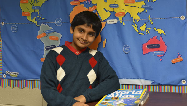 Kapil Nathan, a fifth grader at Mt Laurel Elementary, is competing in the National Geographic Bee this week.