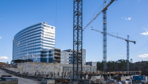 Progress continues at Grandview Medical Center on U.S. 280 as two large tower cranes were recently removed from the construction site. (Contributed)