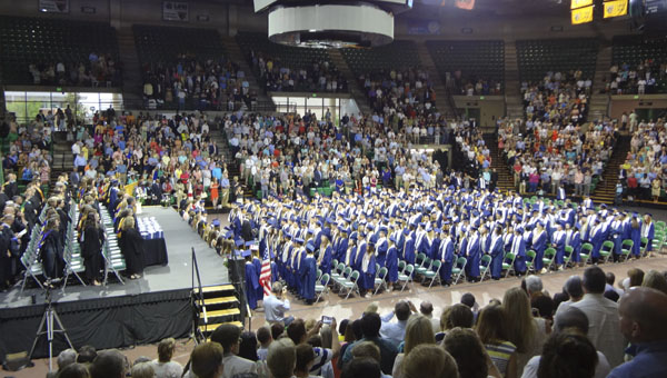 About 400 Oak Mountain High School students received their diplomas in a graduation ceremony at UAB's Bartow Arena on May 20. (Reporter Photo/Emily Sparacino)