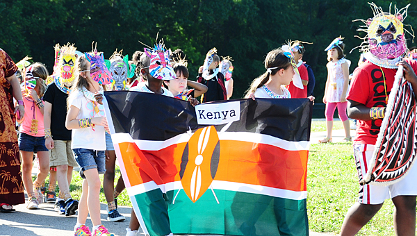 Creek View Elementary School students don traditional Kenyan attire as they participate in the school's parade of nations on May 8. (Reporter Photo/Neal Wagner)