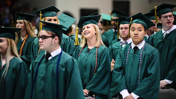 Pelham High School seniors await the start of the school's graduation ceremony at the Pelham Civic Complex on May 21. (Reporter Photo/Neal Wagner)