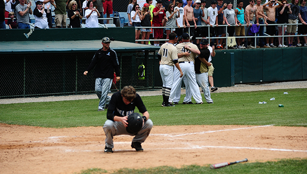 Helena's Robbie Livley reacts after Russellville records the final out to become the AHSAA 5A State Baseball Champions. Russellville defeated Helena 3-2 and 4-1 to win the series. (Reporter Photo/Graham Brooks)