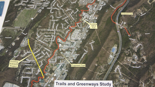 A map shows the proposed trail and greenway system (red) in Pelham. (Reporter Photo/Emily Sparacino)