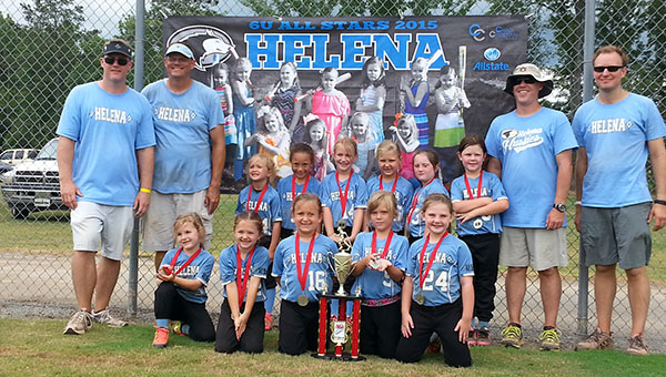 Pictured are coaches and players of the Helena 6U Softball All-Star team who recently finished as runner-ups in the NSA State Softball Tournament. (Contributed)