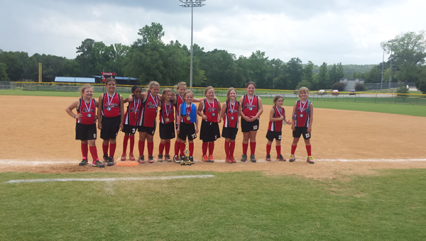 The Alabaster 8U softball All-Star team competed in the South Central area tournament over the weekend of June 19-20 and qualified for the state tournament, which took place in Florence from June 25-27. (Contributed)