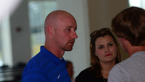 New Oak Mountain baseball coach Derek Irons, with his wife, Leslie, met with members and parents of the Oak Mountain baseball team for the first time on June 24. (Reporter Photo / Baker Ellis)