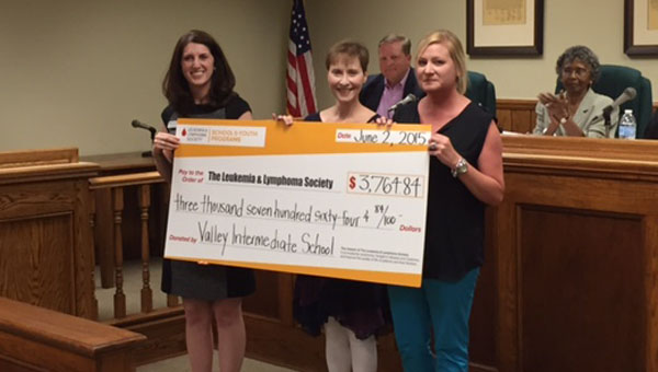 Valley Intermediate School presented a check for $3,764.84 to the Leukemia and Lymphoma Society on June 2. (Contributed)