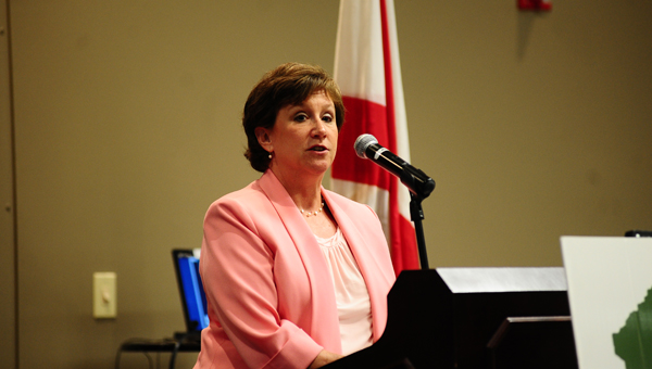2014 United Way Campaign Chair Nancy Collat Geodecke addressed the Greater Shelby Chamber of Commerce June 24. (Reporter Photo / Neal Wagner)
