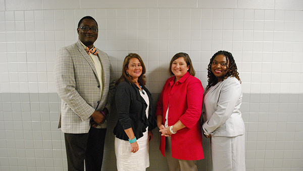From left to right: Michael Jones, Sheryl Jones, Laura Junkin and Andrea Childress were approved by the Shelby County School Board to begin their new positions as assistant principals at various Shelby County Schools. (Reporter Photo/Graham Brooks)