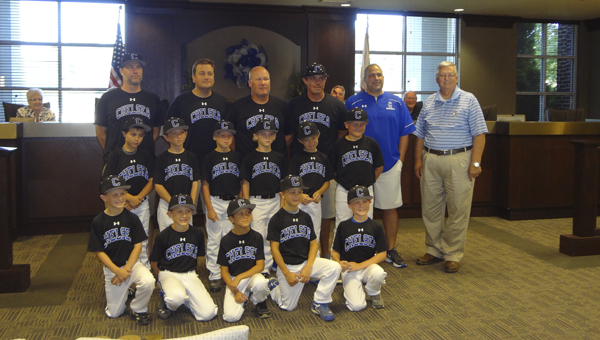 The 8U Chelsea Pain Train baseball team was recognized during a Chelsea City Council meeting on June 16 for winning the Academy Sports Invitational the weekend of June 13 and 14. (Reporter Photo/Emily Sparacino)