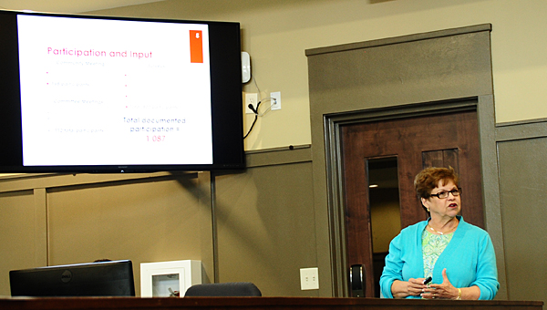 Marcia Burke presents the Alabaster City School System's updated five-year plan during a June 8 meeting. (Reporter Photo/Neal Wagner)