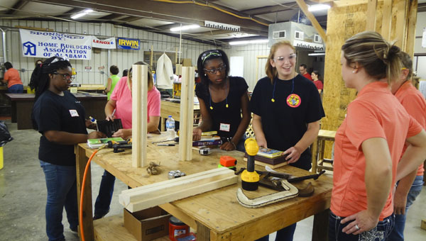 Students build a wooden table June 17 during a Girls Can Construction Camp at the Shelby County College and Career Center in Columbiana. (Reporter Photo/Emily Sparacino)
