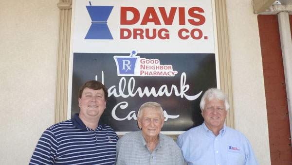 The three generations of the Davis family that have run Davis Drug for 59 years: James Treadwell Davis III (Treadwell), James Treadwell Davis Sr. (Jimmy) and James Treadwell Davis Jr. (Jim). (Contributed)