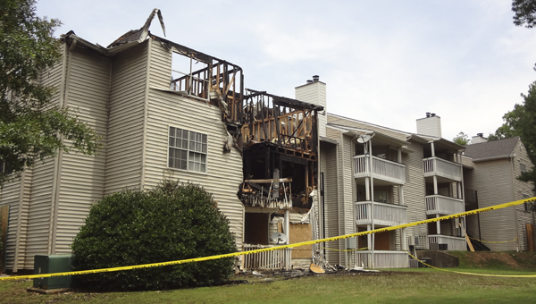 A fire that broke out at an apartment building at Riverside Parc Apartments off U.S. 280 on June 23 resulted in no injuries, but displaced about 30 residents. (Reporter Photo/Emily Sparacino)