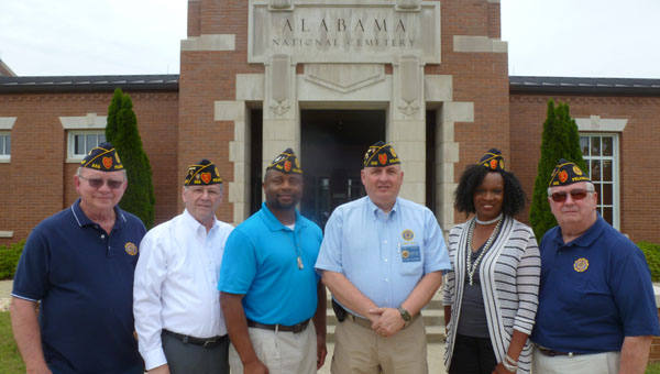 Members of the American Legion Matthew Blount Post 555: Richard Kaster, Adjutant Ronald Koonce, Ist Vice Commander Kenneth Paschal, Commander Barry Blount, 2nd Vice Commander Quincy Whitehead, and Public Relations Officer Tom McDaniel meet at Alabama National Cemetery. (Contributed)