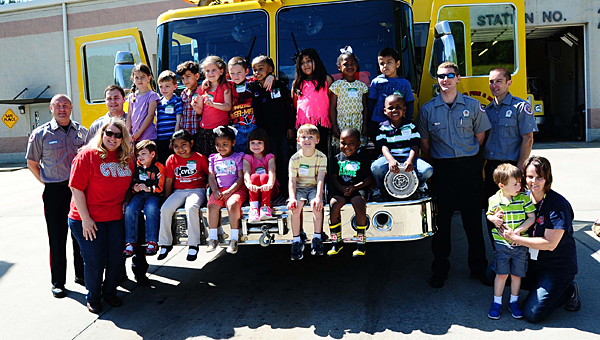 Alabaster pre-K students take a trip to Alabaster Fire Station No. 2 off Butler Road in April. Stations No. 2 and No. 3 soon will see multiple upgrades. (File)