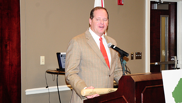 State Sen. Cam Ward, R-Alabasater, accepts an award from the Business Council of Alabama during a June 24 Greater Shelby County Chamber of Commerce luncheon at the Pelham Civic Complex and Ice Arena. (Reporter Photo/Neal Wagner)