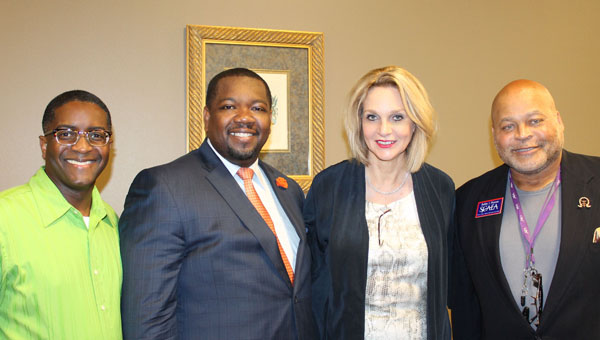 Rodney Brown, Dr. Gregory Graves, Janet Novatnak and Bobby Pierson gather for photos after the Alabama Education Association Summer Leadership Conference at Pelham Civic Complex on June 22. (Contributed)
