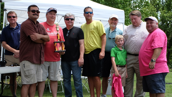 Helena Best Butt Winners Q-Brothers accept their trophy with Mayor Hall, Matt Fridy and Bob Carlton. (Contributed)