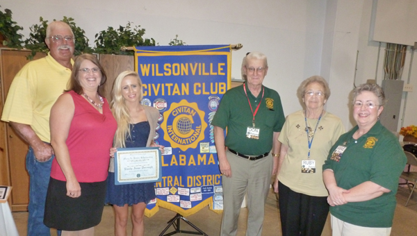Cornerstone Christian School graduate Emily Dorough was awarded the Revis Memorial Scholarship by the Wilsonville Civitan Club. Pictured are Dorough's stepfather and mother, Jim and Janice Blackmon, Dorough, Wilsonville Civitan Club President Don Relyea, Wilsonville Civitan lifetime member Ruby Revis and Wilsonville Civitan Scholarship Chair Anne Phelps. (Contributed)
