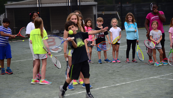 The Greystone branch of the YMCA held a tennis camp from during the week of July 1. The campers ran through a number of drills and played varying kinds of tennis games as well. (Reporter Photo / Baker Ellis)