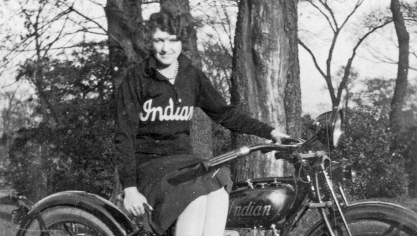 Helena Biker Babe. Lula, nicknamed Luke, Dunnam side-saddled Ray Floyd's new Indian motorcycle about 1925. The Indian motorcycle sweater she was wearing would be worth hundreds of dollars today. Ray Floyd was a partner in the Floyd and Flowers Garage and had earlier worked in the rolling mill at Helena. (Contributed/City of Helena Museum)
