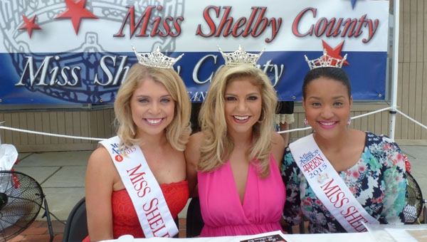 """Co-emcees for the 28th Annual Miss Shelby County Pageant 2016, Ninja Night Masquerade,"""" are Miss Shelby County 2015 Amanda Ford, Miss Alabama 2015 Meg McGuffin and Miss Shelby County Outstanding Teen 2015 Tiara Pennington, seen here autographing at Liberty Day. (Contributed)"""