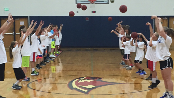About 40 kids from third through eighth grade gathered at Oak Mountain High School on June 29-30 for a basketball camp put on by head girls coach Allen McGowan. (Contributed)