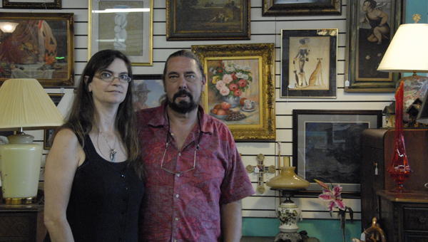 Tracy and Brent McClure just moved their resale shop to Pelham from Crestwood. They sell a wide variety of unique antique and collectibles. (Reporter Photo / Jessa Pease)