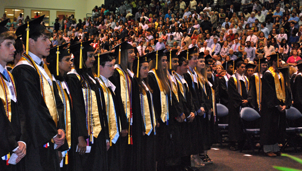 The Spain Park High School class of 2015 prepares to receive diplomas during a graduation ceremony in May. (File)