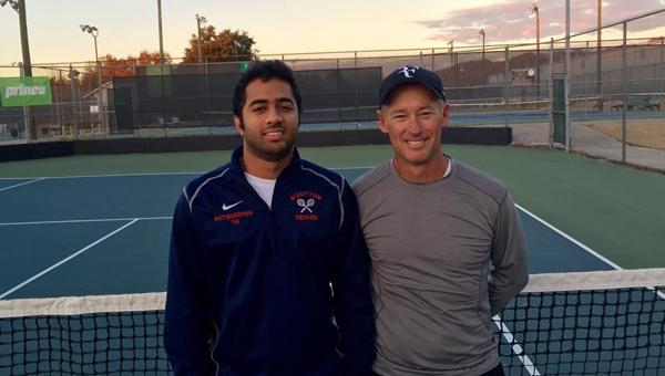 Abhishek Patwardhan and pro tennis player Steve Faulknerat the Pelham Tennis Center. (Contributed)
